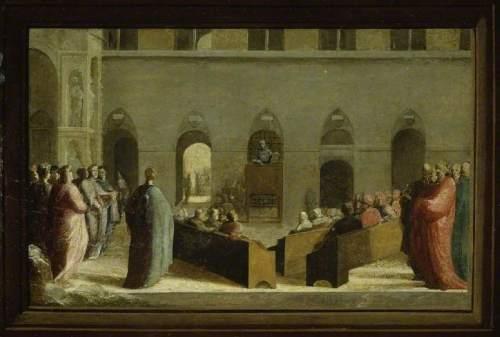 Beccafumi, Domenico, 1484/1485-1551; San Bernardino Preaching in the Campo, Siena